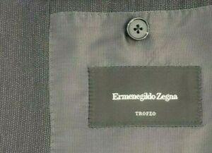 Ermenegildo Zegna TROFEO Silk Gray Textured 3 Button Jacket Blazer 44R Italy