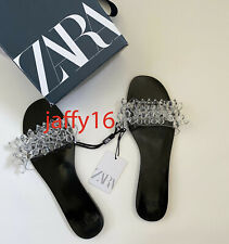 ZARA NEW WOMAN FLAT SANDALS WITH TRANSPARENT BEADING CLEAR BLACK 35-42 3601/510