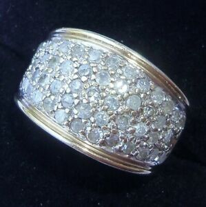 9ct Gold 1.00ct Diamond Pave Set Band Ring, Size M1/2, 1ct