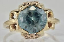 Vintage 10K Yellow Gold 9MM Blue Topaz Ring Flower Accent Size 7 3/4