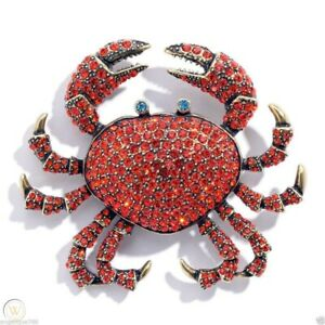 Heidi Daus Queen's Crab Crystal Pin RED BEST DEAL WEB GORGEOUS SOLDOUT RET$199