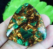 C5832 45x40x7mm Malachite Gold Copper Bornite Stone Triangle Pendant Bead