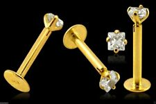 Labret Bar14k Carat Genuine Gold 2mm Square Claw Set Gem Tragus Lip 16g 10mm