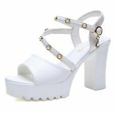 Womens Platform Super High Heel Sandals Sexy Ankle Strap Buckle Block Heel Shoes