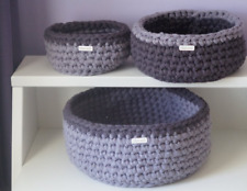 Set of three grey/purple baskets, storage solution, storage items, living room,