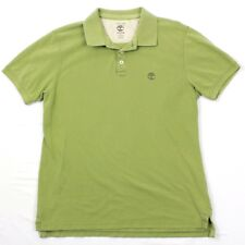 VTG Timberland Mens Summit Polo Adult Large Safari Green Cotton Minimalist Logo