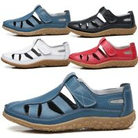 Women's Casual Slip On Leather Shoes Moccasins Comfort Driving Flat Loafers Blue