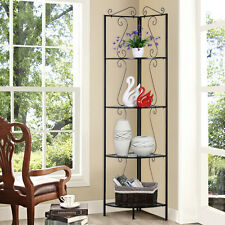 4 Tier Metal Corner Shelfs Iron Display Stand Rack Shelves Storage Home Decor