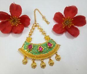 Indian Green CZ Tikka Ruby Studded Head Piece Gold Plated Wedding Jewellery