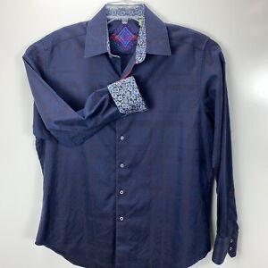Robert Graham Mens Medium Blue Embroidered Flip Cuff Dress Shirt(N26)