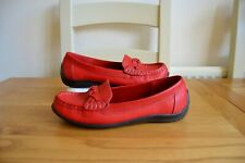 "HOTTER ""SELENA"" RED LEATHER LOAFER MOCCASIN STYLE SLIP ON SHOES UK 6.5 EU 40 EXF"