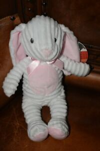FAO Schwarz BUNNY RABBIT White Chenille 12in Soft Plush Pink Easter Bow TAG