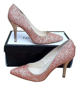 NINE WEST Flagship Ladies Pale Pink Glitter Pointed Toe High Heel Shoes MRRP £69