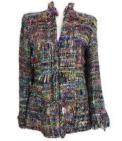 Denver Pizzazz Boutique Art Colorful Tweed 100% Silk Peacoat Blazer Jacket Sz M