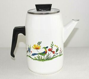Coffee pot Enamel Vintage French Bird Flower decoration Inner filter Country S4