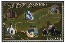Great Smoky Mountains National Park Tennessee Bears Mill etc Modern Map Postcard