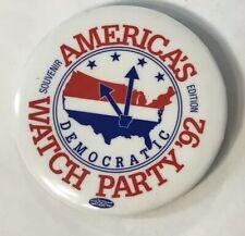 America's Watch Party '92 Souvenir Edition Democratic Vintage Button Pin Clinton