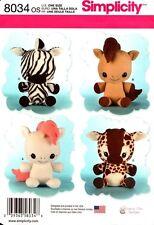 Simplicity Sewing Pattern 8034 Stuffed Animals One Size NEW