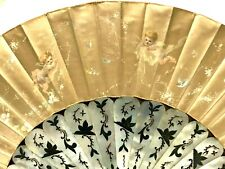 GORGEOUS HAND PAINTED MOTHER OF PEARL & SILK FAN with QUERUBS.c1900