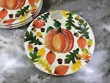 Melamine Salad Plates. Colorful Pumpkins. By Family Gatherings. Set Of 4. New.
