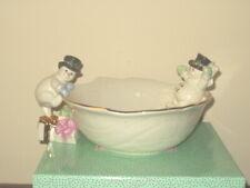 """Lenox """"The Snowman Bowl"""" Christmas Porcelain Sculpture Snowflakes - 2001 Cert."""