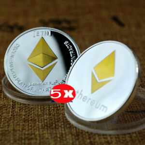 5Pcs Commemorative Collectible Golden Silver Iron ETH Ethereum Miner Coin