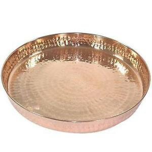 Pure Copper Round Shape Hammered Dinner THALI/plate Traditional  Style