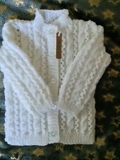 Brand new hand knitted baby cardigans 6-9+ months in super soft white baby wool