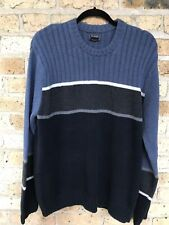 Bass & Co Sweater Large Blue Gray and Navy Stripes