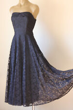 FRENCH VINTAGE 80's FLORAL LACE NET STRAPLESS GLAM PARTY DRESS 8
