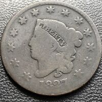 1827 Large Cent Coronet Head One Cent 1c Circulated #29004