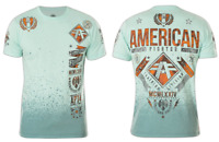 AMERICAN FIGHTER Men T-Shirt LANDER Athletic SEAFOAM DIP DYE SPRAY Biker $40