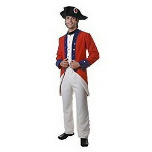 Colonial Solider Costume Adult 4 Pc Red/Blue/Tan Coat/Vest Pants Collar & Hat 2X