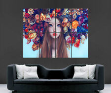 GIRL TRIPPY FLOWERS POSTER IN HAIR ROSES ABSTRACT FANTASY WALL ART PRINT
