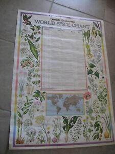Vintage 1975 Celestial Seasonings World Spice Chart large 43.4 x 31 Poster
