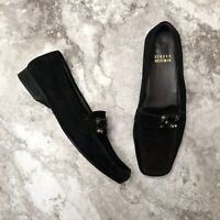 Stuart Weitzman Embellished Suede Penny Loafers Size 6 Black Shoes Flats