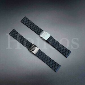 20 22 24 MM Black Silicone Rubber Watch Band Strap Deployment Clasp Buckle 2021