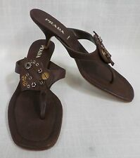 Authentic Prada Brown Heart Kitten Heel Sandals Sz. 38
