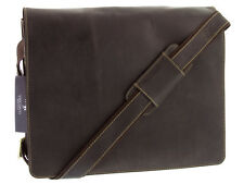 Large Messenger College Uni Bag Real Leather Oiled Brown Visconti 18548