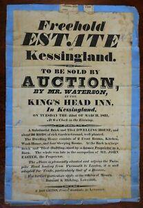 Auction Broadside King's head Inn Beer Brewery 1831 Kessingland England on road