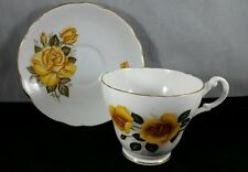 Royal Ascot English Bone China Teacup and Saucer Yellow Roses