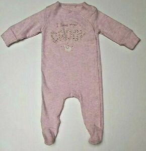 Girls sleepsuits babygrows  NXT cotton romper outfit I LOVE DADDY pink