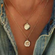 New Roman Star Moon Coin Hammered Layered Women Necklace Pendant Gold Plated