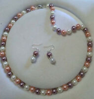Pretty 8mm Multi-Color South Sea Shell Pearl Round Beads Necklace Earrings Set