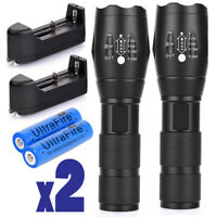 2 x Tactical Flashlight Ultrafire T6 High Powered 5Modes Zoom Aluminum +Battery