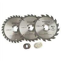 3pc 160mm TCT Circular Saw Blades 16/24/30 TPI & Adapter Rings Reducer TH020