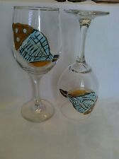 2 Hand-Painted Chic Blue Shell Glass #2 Wine Glasses
