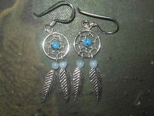WHOLESALE LOT 10 PAIR OF STERLING SILVER TURQUOISE DREAM CATCHER EARRINGS