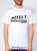 T SHIRT Evolution RUNNING maglietta divertente cotone fruit of the loom