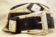Black Gold Leatherock Pave Belt Made with Swarovski Rhinestones Western Small